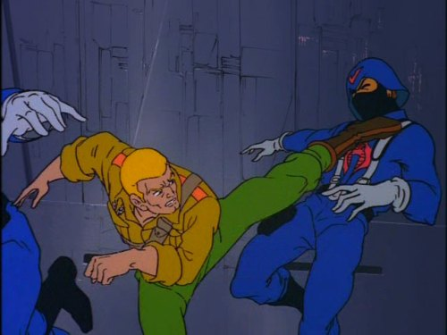 "G.I. Joe ""The Cobra Strikes"" screencap Duke kicking"