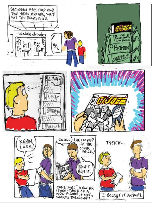 "Tim Finn buys his first comic book, ""G.I. Joe"" #90"