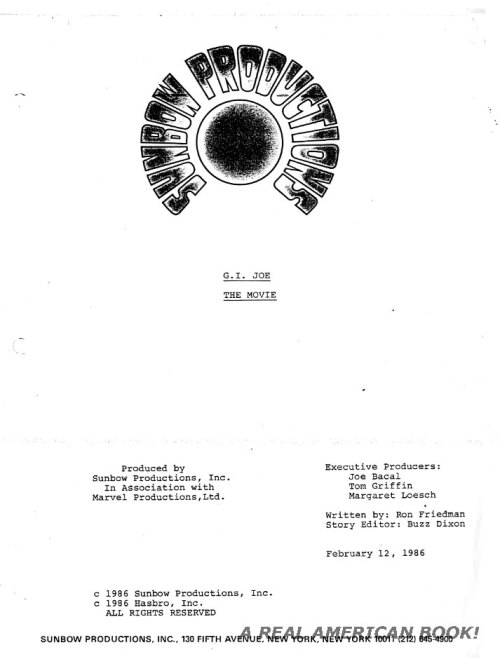 G.I. Joe: The Movie screenplay title page