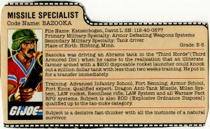 G.I. Joe Bazooka 1985 cardback dossier by Larry Hama