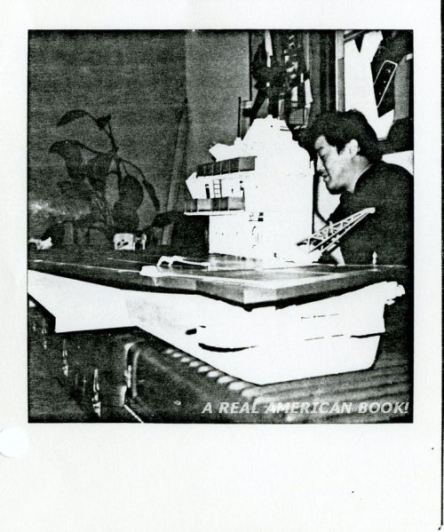 Photocopy of Polaroid picture with Larry Hama and the USS Flagg toy, date unknown