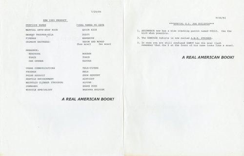 Sunbow Productions internal memos G.I. Joe dated 1984