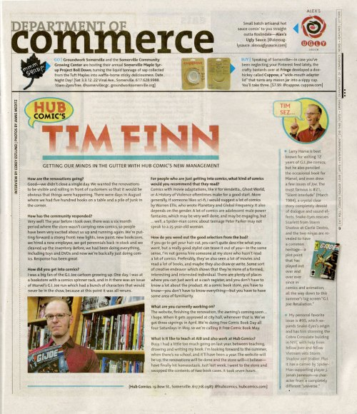 DigBoston Feb 29 2012 Tim Finn Hub Comics article by Corey Estlund photo by Jamie Meditz