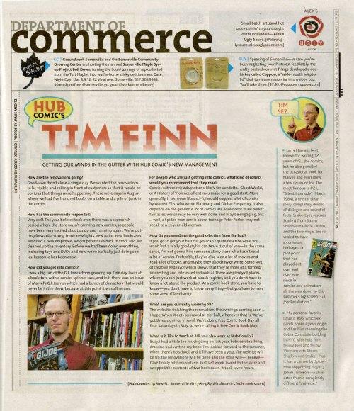 DigBoston Feb 29 2012 Tim Finn Hub Comics article by Corey Estlund photo by Jamie Meditz