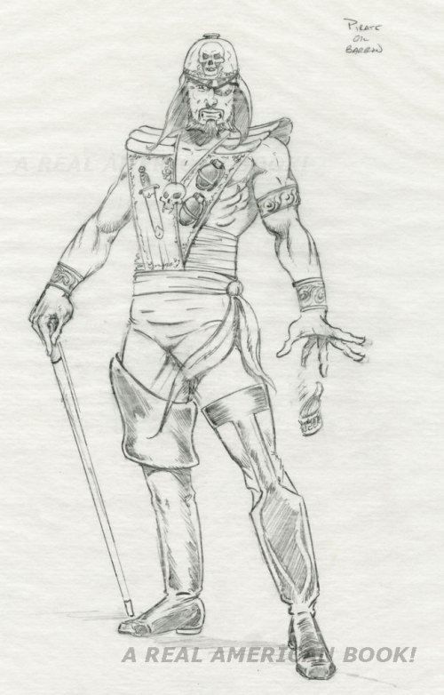 Unproduced Eco-Warriors Pirate Oil Baron pencil art by Kurt Groen