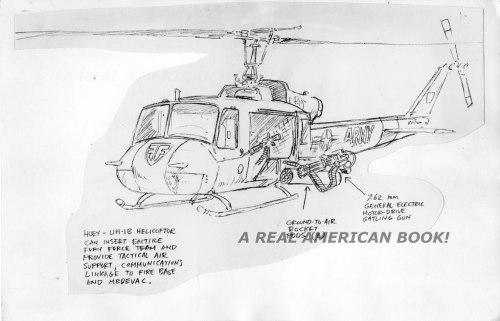 Fury Force helicopter sketch by Larry Hama