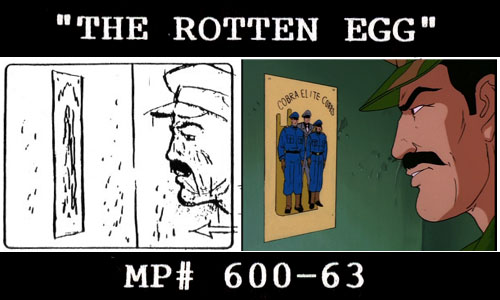 "G.I. Joe season 2 storyboard to animation still comparison ""The Rotten Egg"""