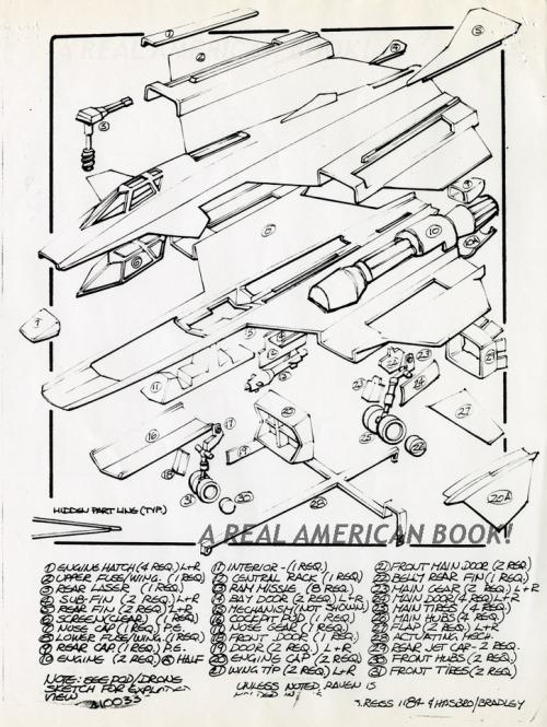 Cobra Night Raven design pg 6 by Steve Reiss for G.I. Joe 1986 toy line