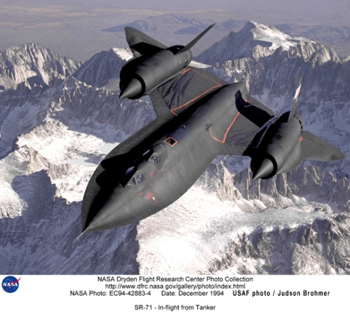 SR-71 NASA photo by Judson Brohmer as comparison to Steve Reiss G.I. Joe Cobra Night Raven toy for Hasbro
