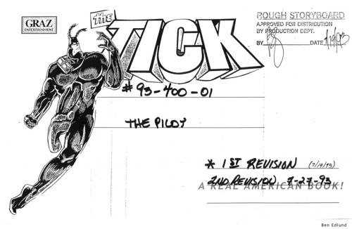 The Tick ep1 storyboard pg title art by Ben Edlund