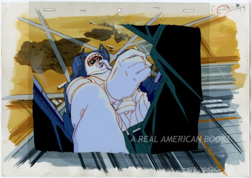 "GI Joe ""The Wrong Stuff"" animation cel and background of Wild Bill in astronaut gear"
