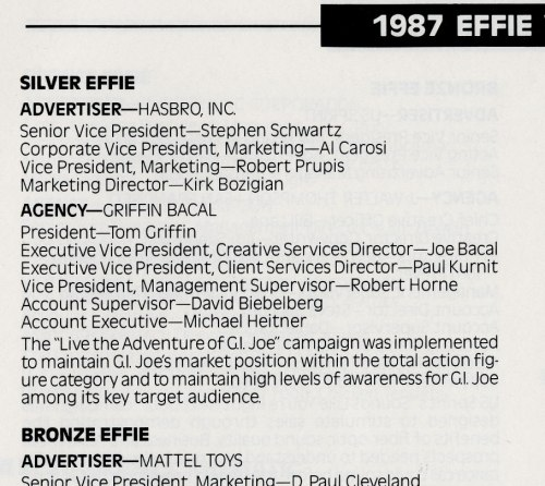 Effie Award 1987 catalog Toys and Games category silver winner G.I. Joe Griffin Bacal