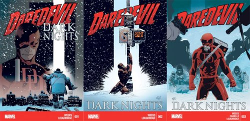 Lee Weeks cover art for Daredevil: Dark Knights issues 1-3