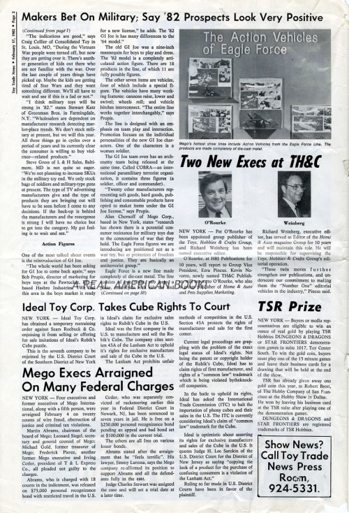 Toy Trade News, front page, 17 Feb 1982