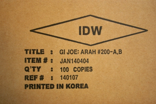Hub Comics side of case of G.I. Joe #200