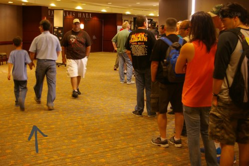 father and son, people in line at GI Joe convention