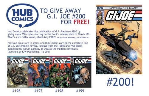 GI Joe 200 window flyer at Hub Comics