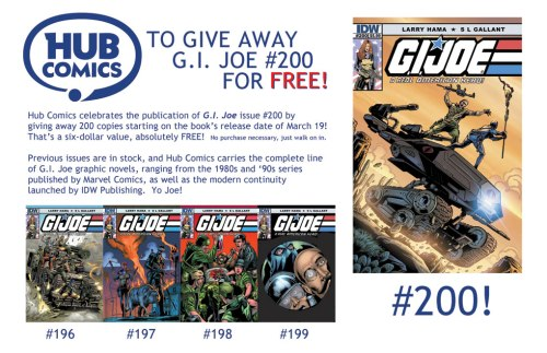GI Joe 200 window flyer at Hub Comics