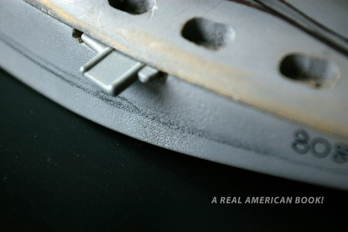 Close up photo of grey GI Joe Cobra Piranha model circa 1988 designed by Dave Kunitz