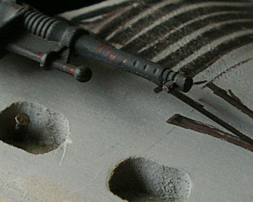 Close up of grey model GI Joe Cobra Piranha Kunitz